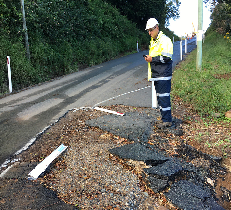 Project Engineer, Michael Terry, inspecting damage after Cyclone Debbie