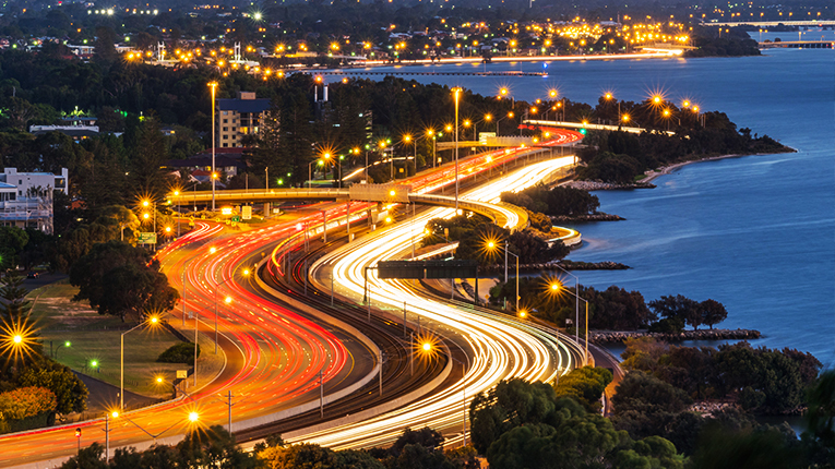 Kwinana Freeway at dusk