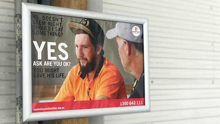 A Mates in Construction awareness campaign out on site