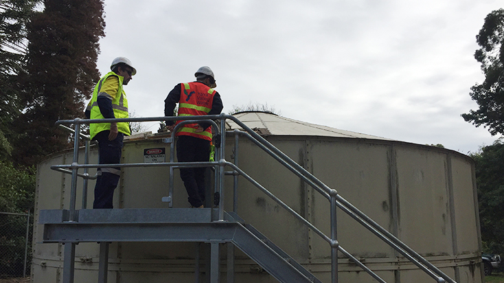 Inspecting a water tank