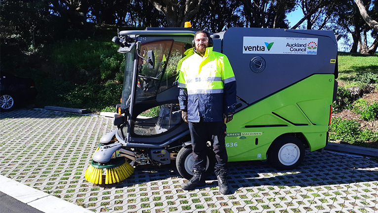 Another member of the Ventia team helping to keep Auckland's streets clean.