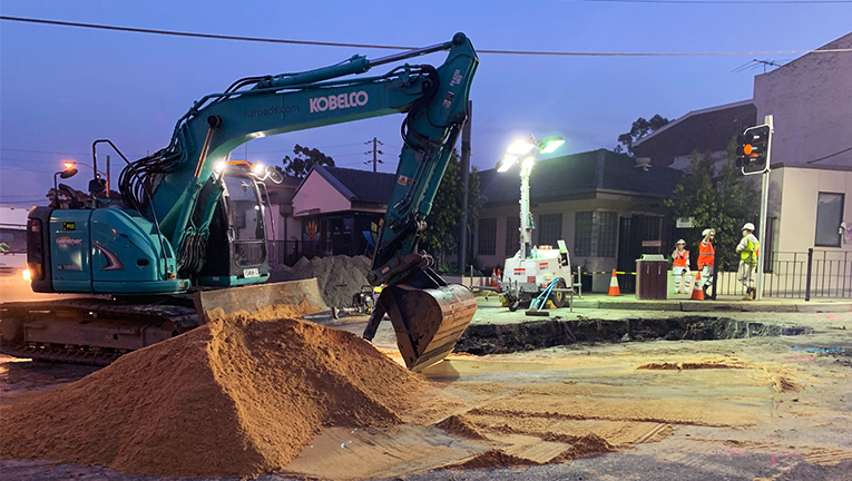 A digger in Punchbowl